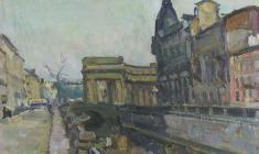 В. Тетерин.  Белая ночь на Канале Грибоедова.  Х.м.,60х80. 1950