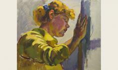 В. Тетерин.  Девушка, моющая окна. Х.м., 53,5х62. 1957