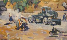 В. Тетерин.  Дорожные рабочие.  Х.м., 40х70. 1958