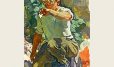 В. Тетерин.  Рабочий паренёк.  Х.м.,102х68. 1958