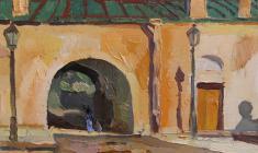 Ю. Хухров. Петропавловская крепость в Ленинграде. Х.м., 37х36,5. 1980