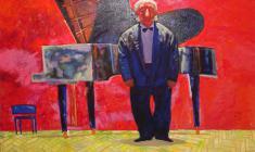 В. Солодкий. Аплодисменты. Концерт окончен. Х.м, флюоресцентные краски, 80х100. 2003