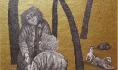 В. Солодкий. Бомж Бемоль блюз. Карт, карандаш, фольга., 28х18. 2011