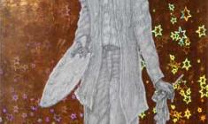 В. Солодкий. Творец. Бум, масло, карандаш, фольга, 27х13,5. 2005