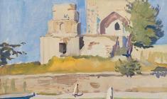Александр Столбов. Мечеть в Шахрисaбз. Х.м.,35х50.1964