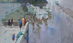 Александр Семёнов. Нева около моста Петра Великогою Карт.м.,59,5х50. 1966