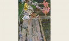 Майя Копытцева. У бани. Х.м.,54,5х39,5. 1954