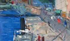 Арсений Семёнов. Баржа у берега. Карт.м.,47.5х33,3. 1961