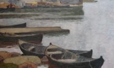 Николай Галахов. Лодки в деревне Сумпасад. Х.м.,95х75. 2003