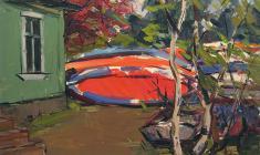 Арсений Семёнов. Лодки на берегу. Карт.м.,34,8х48,8. 1960