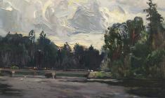 Александр Семёнов. Мост над Оредежем. Карт.м.,40,2х44. 1981