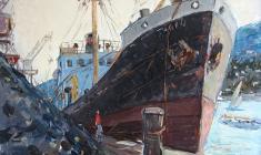 Арсений Семёнов. Грузовой порт в Ялте. Карт.м.,35х49,4. 1958