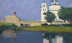 Арсений Семёнов.  Собор во Пскове. Карт.м.,33,7х48,7. 1958