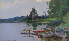 Александр Семёнов. Озеро Чикино. Х.м.,60х80. 1978