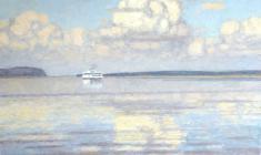 Николай Галахов. Облака над Волгой. Х.м., 75х95. 1999