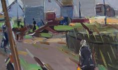 Арсений Семёнов. Деревенский пейзаж. Карт.м.,69х49,5. 1963