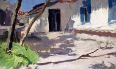 М. Ткачёв.  Дворик. Карт.м., 36,6х47,3. 1960