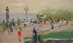 Арсений Семёнов.  Набережная в Ялте. Карт.м.,35,3х48,5. 1957