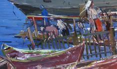 Арсений Семёнов. Рыбацкий причал в Новой Ладоге. Карт.м.,70х49,5. 1962