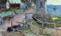 Арсений Семёнов. Рыбацкая деревня около Стрельны.  Карт.м.,49,5х35. 1957