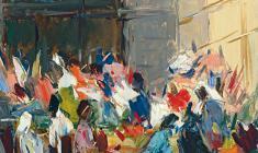 Арсений Семёнов. Цветочный базар. Карт.м.,48х33. 1959