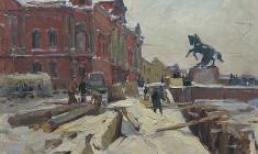 Александр Семёнов. Фонтанка около Аничкова моста. Карт.м.,50х69,5. 1962