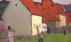 Арсений Семёнов. Группа домов на Западной Украине. Х.м.,49,5х70,2. 1966