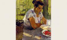 Николай Позднеев. Летом за чтением. Х.м.,87х48. 1959