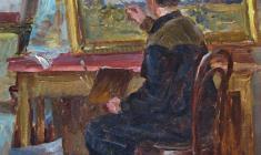 Александр Семёнов.  В мастерской. Карт.м.,36х31. 1951