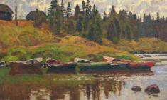 Николай Галахов. Лодки на берегу Куземы. Х.м.,73х97. 1997