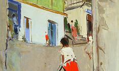 Арсений Семёнов.  Улочка в Ялте.Карт.м.,70х49,5. 1958