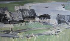 В.Тюленев. Северная деревня. Карт.м., 49х70. 1962