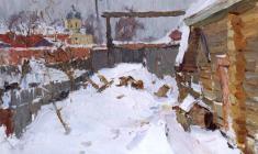 Александр Семёнов. Старая Ладога зимой. Карт.м.,50х70,5. 1972