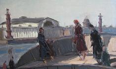 Арсений Семёнов. На набережной Невы. Карт.м.,34х48,5. 1957