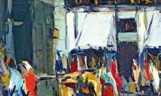 Арсений Семёнов.  Улочка во Пскове. Карт.м.,49,5х35. 1958