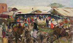 Арсений Семёнов.  Псковский рынок. Карт.м.,34,7х48,7. 1958
