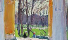 Александр Семёнов.  Весна в саду. Карт.м.,29,5х21. 1967