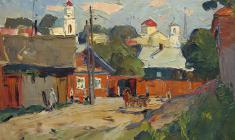 Александр Семёнов. Улица в старом Торжке. Х.м.,41х58. 1966