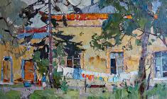 Александр Семёнов. Китайская деревня в Пушкине. Карт.м.,39х59,5. 1967