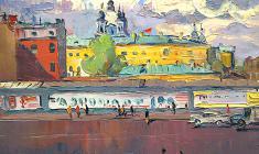 Александр Семёнов. Ленинград. Вид на Смольный. Х.м.,50х60. 1975