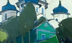 Арсений Семёнов. Вид на собор в Торжке. Х.м.,60х59,5. 1971