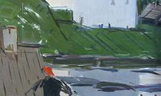 Арсений Семёнов. Волхов. Вечереет. Карт.м.,50х35,2. 1962