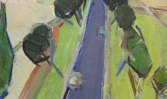 Арсений Семёнов. Западноукраинский пейзаж с дорогой. Х.м., 73,5х45. 1966