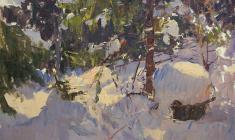 Александр Семёнов. Зимний лес. Карт.м.,49,5х70. 1963