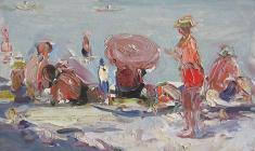Арсений Семёнов. Пляж в Ялте. Карт.м.,25х35,4. 1956