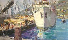 Арсений Семёнов.  Ялтинский грузовой порт. Карт.м. 35х49,4. 1959
