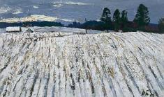 Н. Тимков. Поле. Первый снег.  Карт.м., 16,5х525. 1967