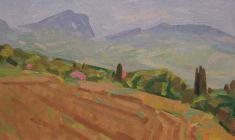 Н. Тимков. Вид на горы. Карт.м.,  25х35. 1986