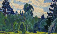 Н. Тимков. Вт лесу.  Карт.м.,  20х31. 1964